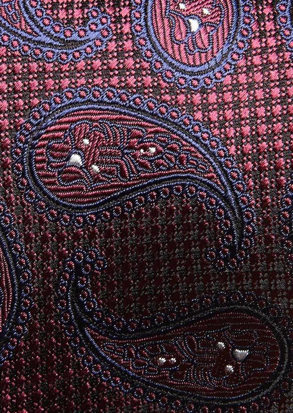 Cravate large en soie bordeaux à motifs géométriques bleus - Father and Sons 27664