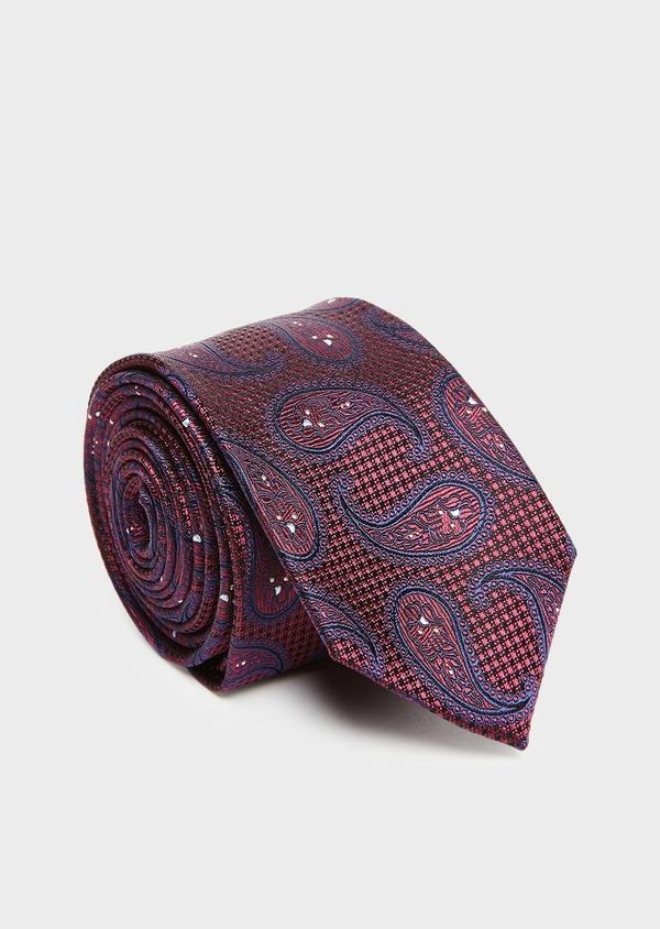 Cravate large en soie bordeaux à motifs géométriques bleus - Father and Sons 27663