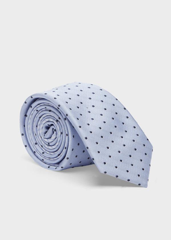Cravate fine en soie bleu ciel à pois bleu indigo - Father and Sons 41055