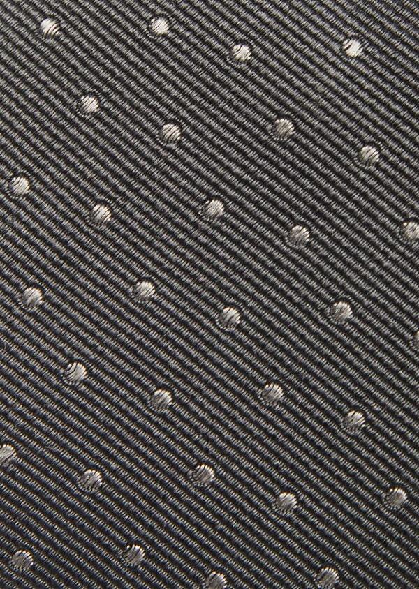 Cravate large en soie gris foncé à pois gris clair - Father and Sons 41122