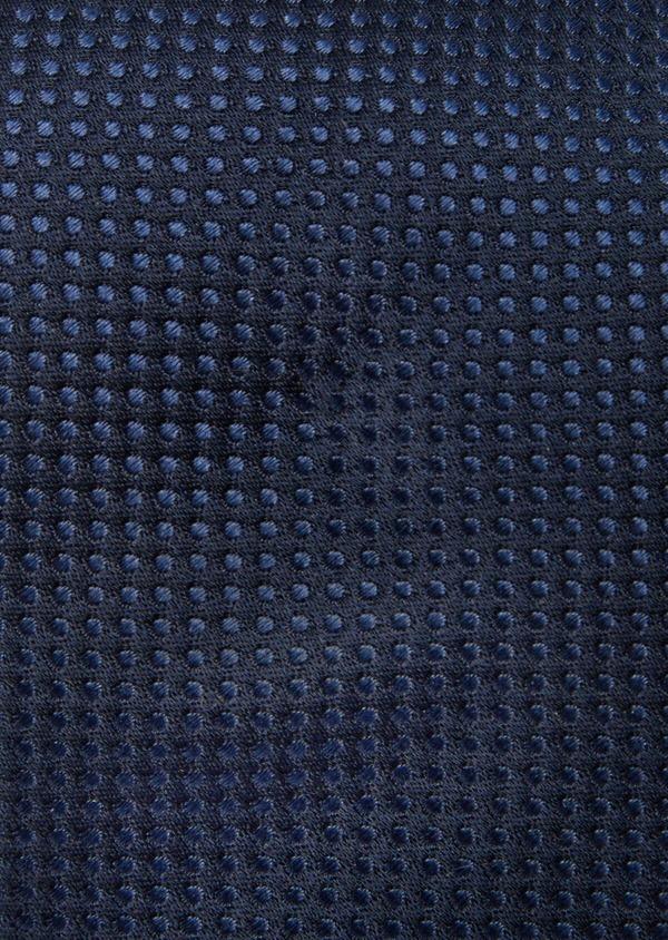 Cravate large en soie bleu marine à pois - Father and Sons 41112