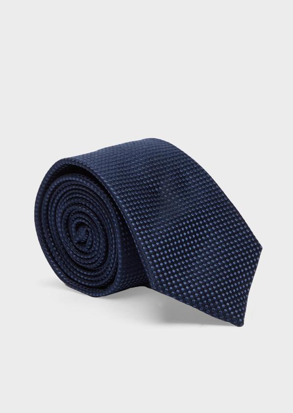 Cravate large en soie bleu marine à pois - Father and Sons 41111