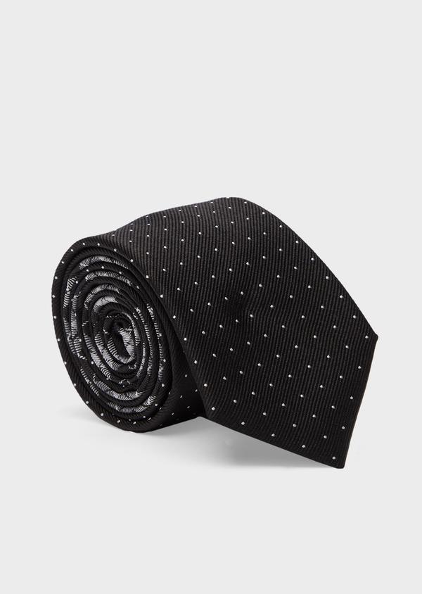 Cravate fine en soie noire à pois blancs - Father and Sons 41095