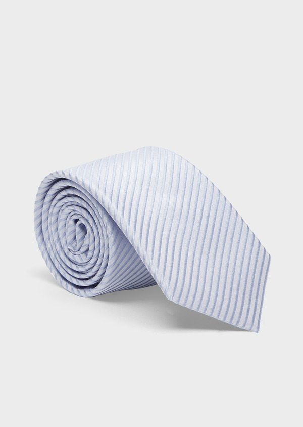 Cravate large en soie à rayures bleu ciel - Father and Sons 41051
