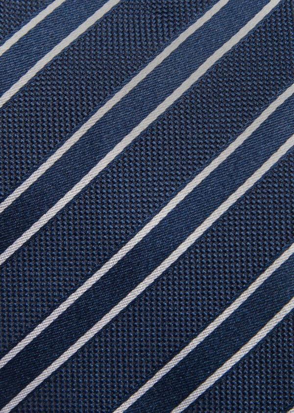 Cravate club fine en soie bleu et blanc - Father and Sons 41058