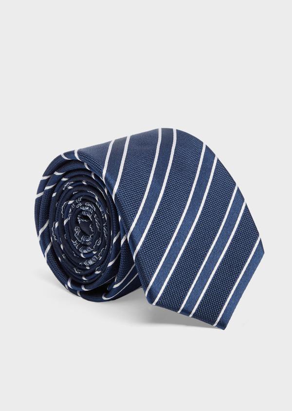 Cravate club fine en soie bleu et blanc - Father and Sons 41057