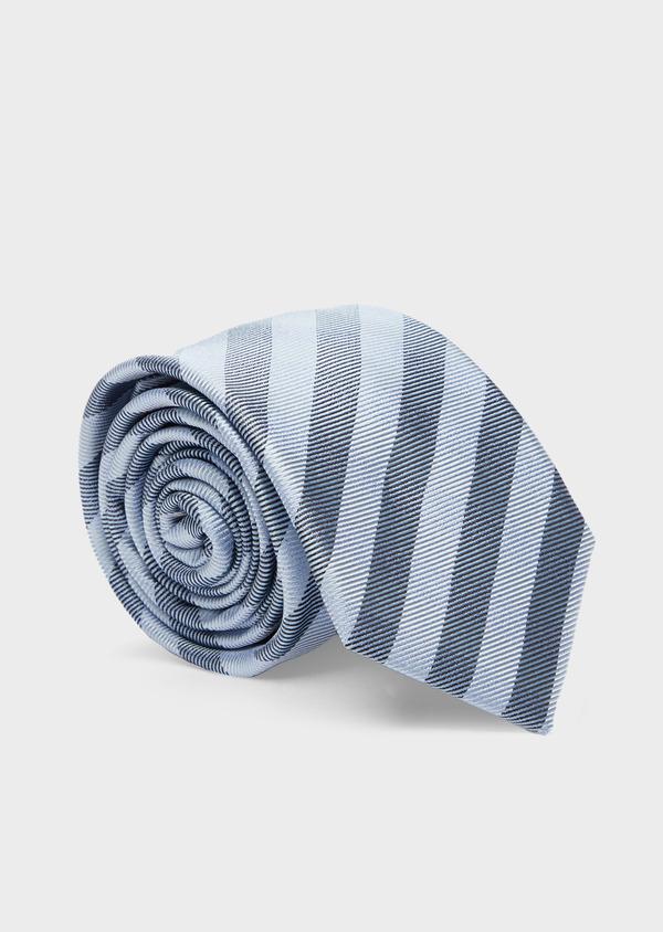 Cravate club large en soie bleu pâle et bleu foncé - Father and Sons 41091