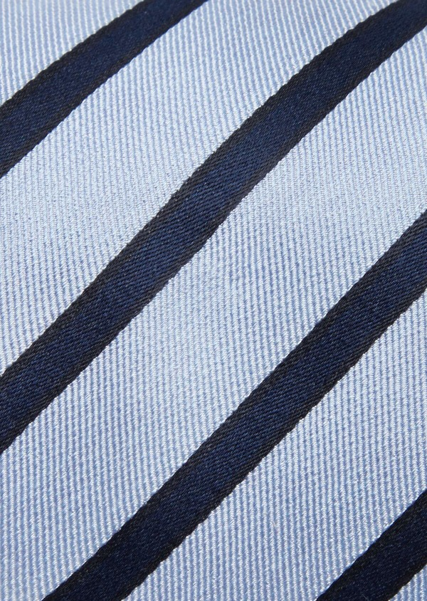 Cravate club large en soie bleu ciel et marine - Father and Sons 41116