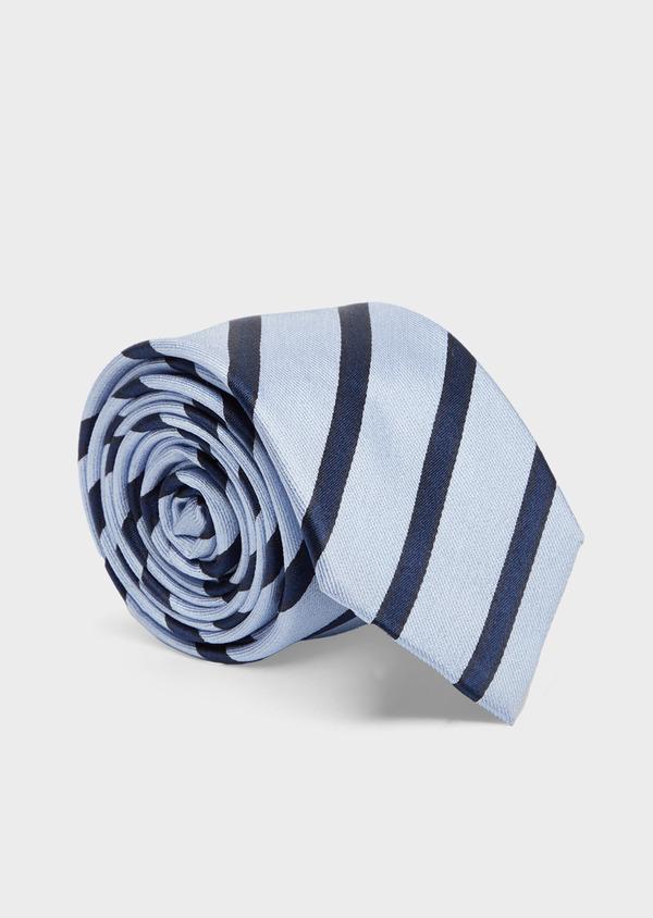 Cravate club large en soie bleu ciel et marine - Father and Sons 41115