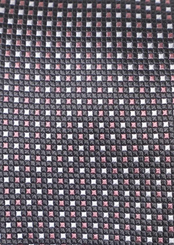 Cravate large en soie gris anthracite à carreaux roses - Father and Sons 35111