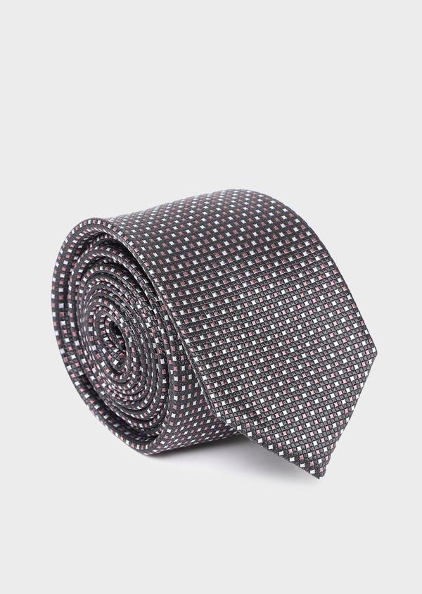 Cravate large en soie gris anthracite à carreaux roses - Father and Sons 35110