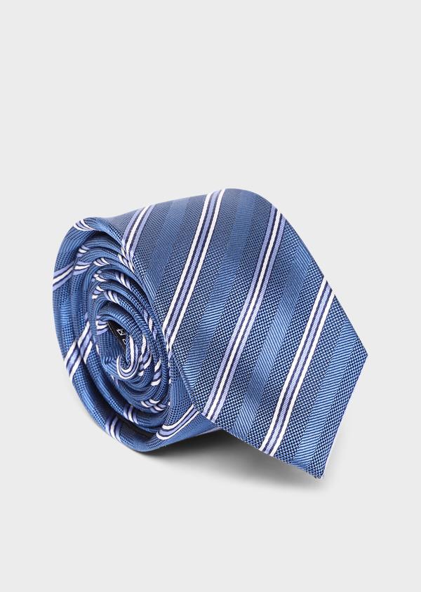Cravate club large en soie bleue - Father and Sons 35164
