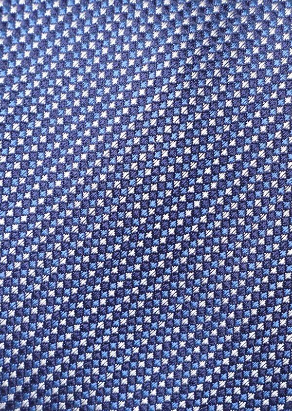 Cravate large en soie à motif fantaisie bleu - Father and Sons 35173