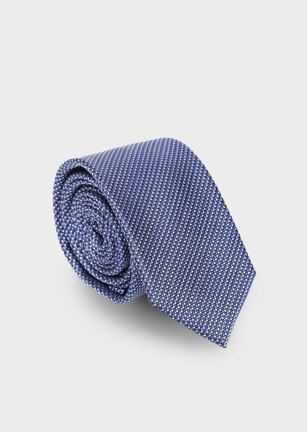 Cravate large en soie à motif fantaisie bleu - Father and Sons 35172