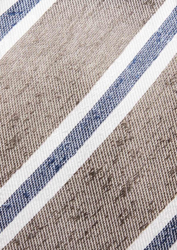 Cravate large en soie beige à rayures bleu et blanc - Father and Sons 37830
