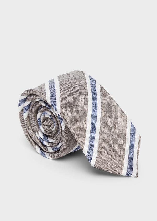 Cravate large en soie beige à rayures bleu et blanc - Father and Sons 37829