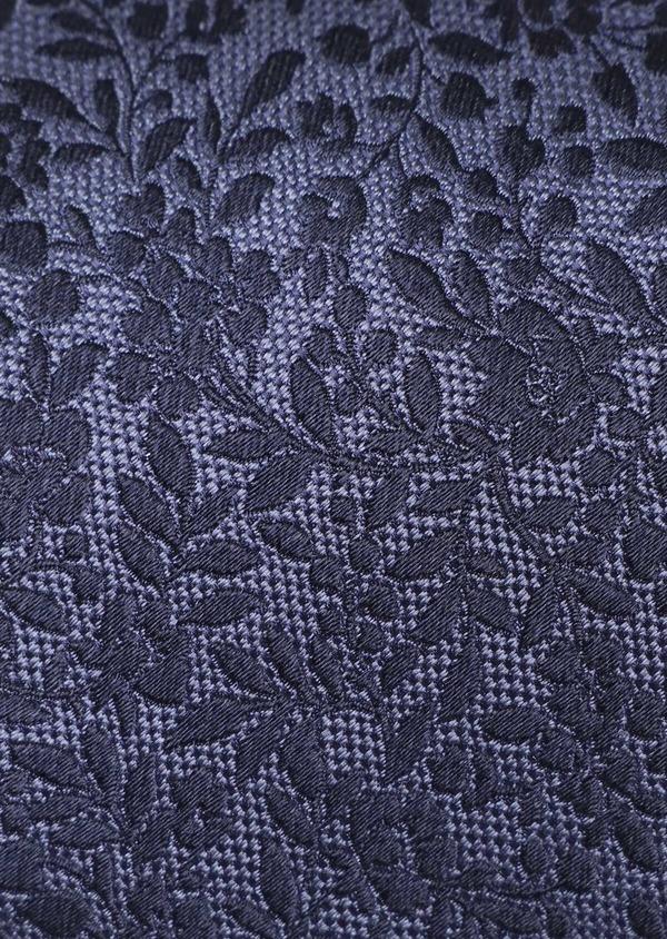 Cravate large en soie à motif fleuri bleu chambray - Father and Sons 35147