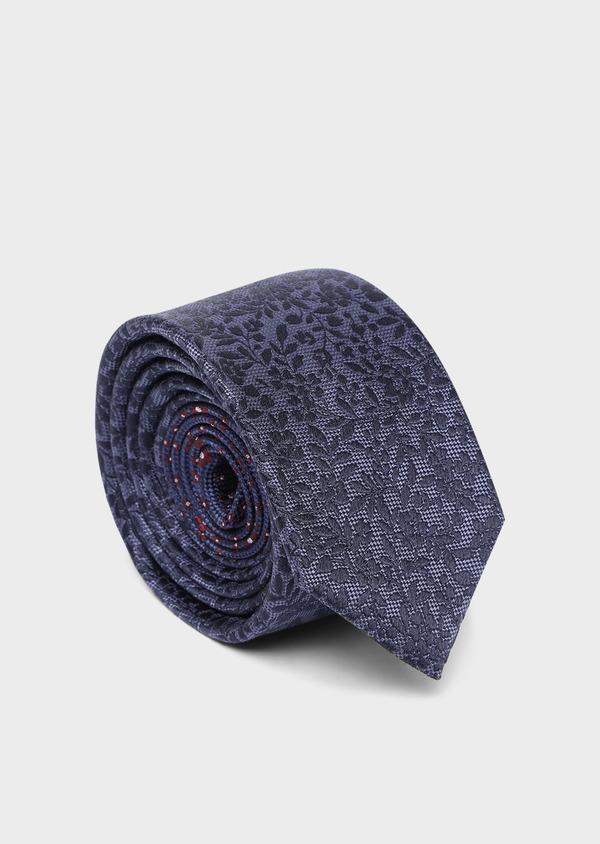 Cravate large en soie à motif fleuri bleu chambray - Father and Sons 35146