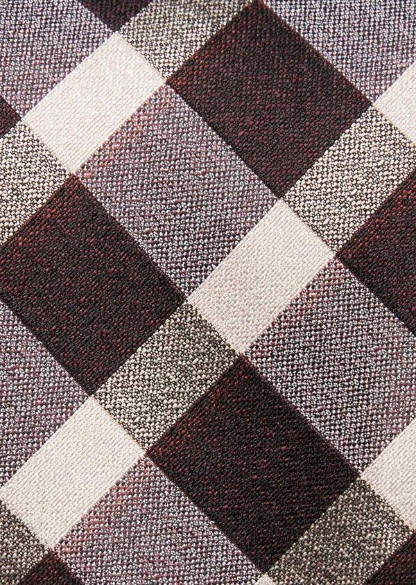 Cravate large en soie à carreaux gris et beige - Father and Sons 37818