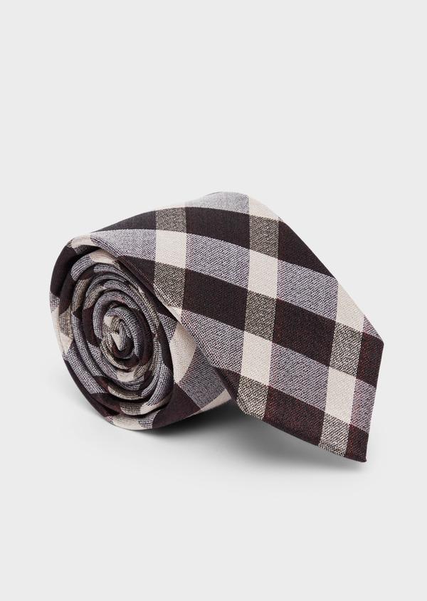 Cravate large en soie à carreaux gris et beige - Father and Sons 37817