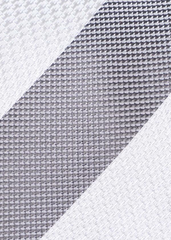 Cravate club large en soie gris et blanc - Father and Sons 35211