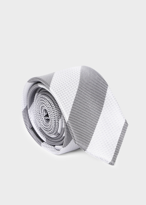 Cravate club large en soie gris et blanc - Father and Sons 35210