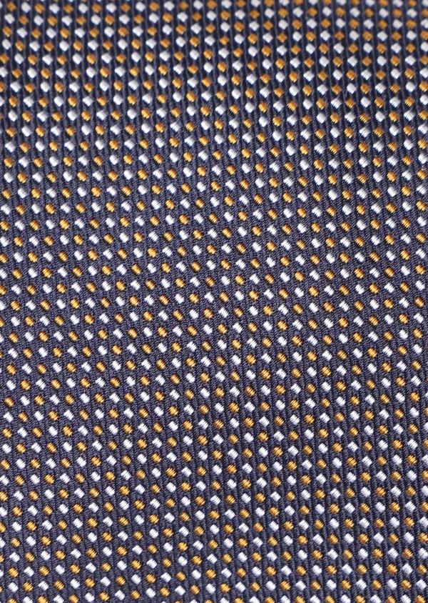 Cravate large en soie marine à pointillés bleu ciel et jaune moutarde - Father and Sons 35133
