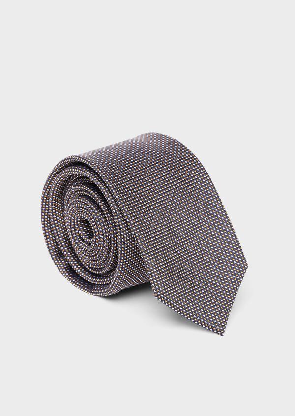 Cravate large en soie marine à pointillés bleu ciel et jaune moutarde - Father and Sons 35132