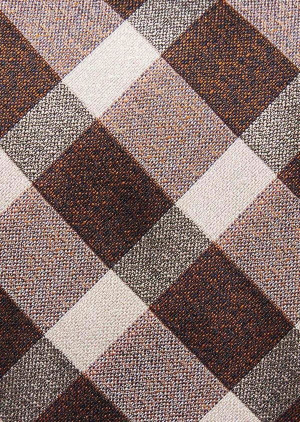 Cravate large en soie à carreaux marron et beige - Father and Sons 37778