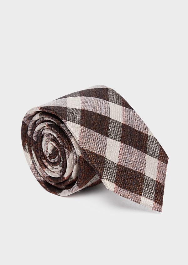 Cravate large en soie à carreaux marron et beige - Father and Sons 37777