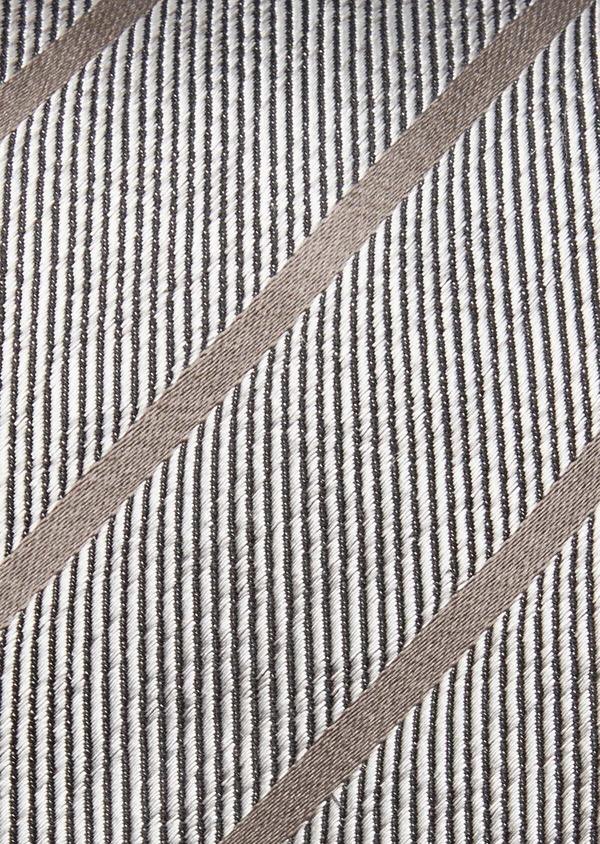 Cravate club large en soie gris et marron - Father and Sons 37836