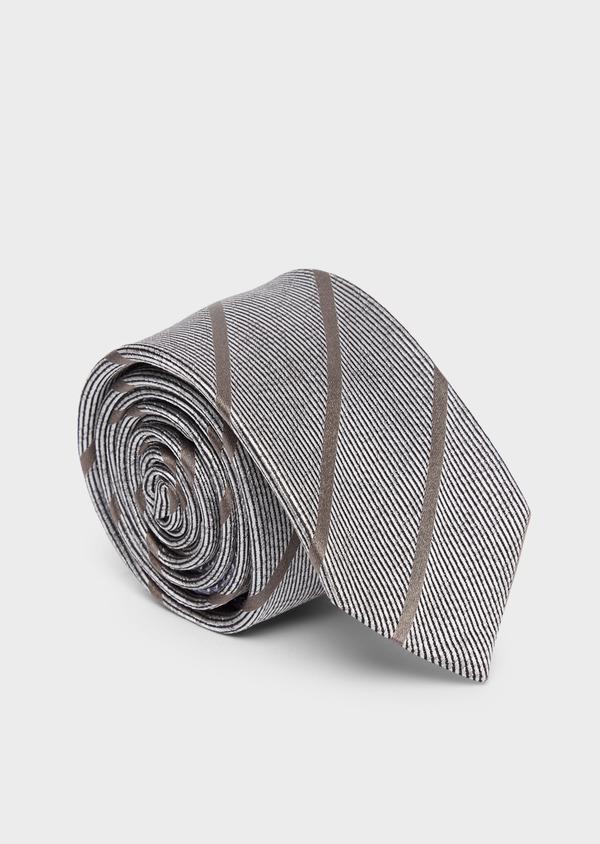 Cravate club large en soie gris et marron - Father and Sons 37835
