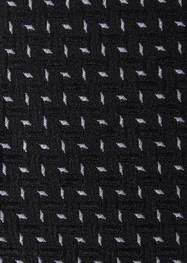 Cravate large en soie noire à motifs géométriques gris clair - Father and Sons 37902