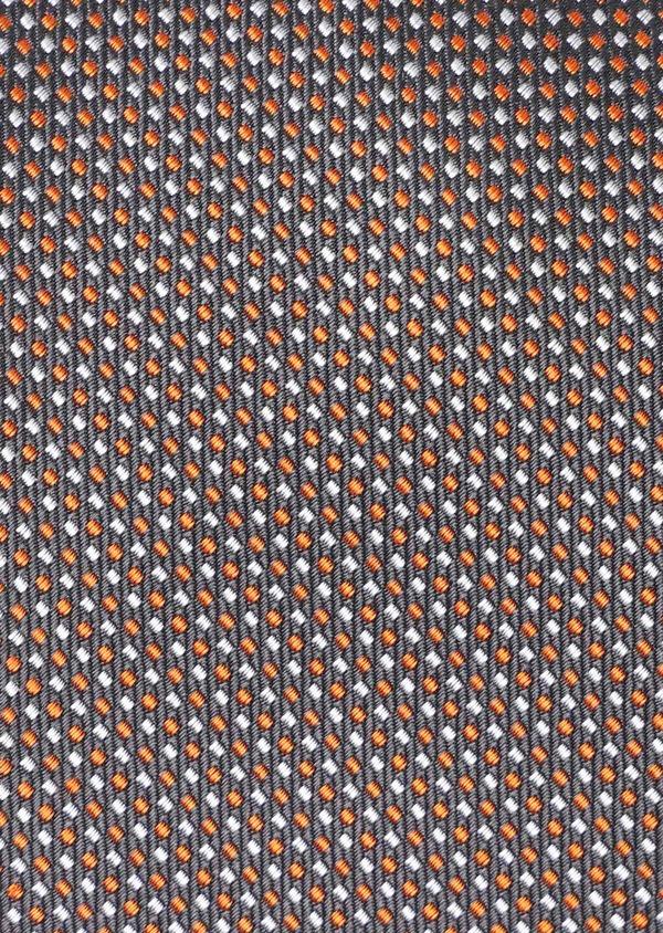 Cravate large en soie à motif fantaisie orange et gris - Father and Sons 35197