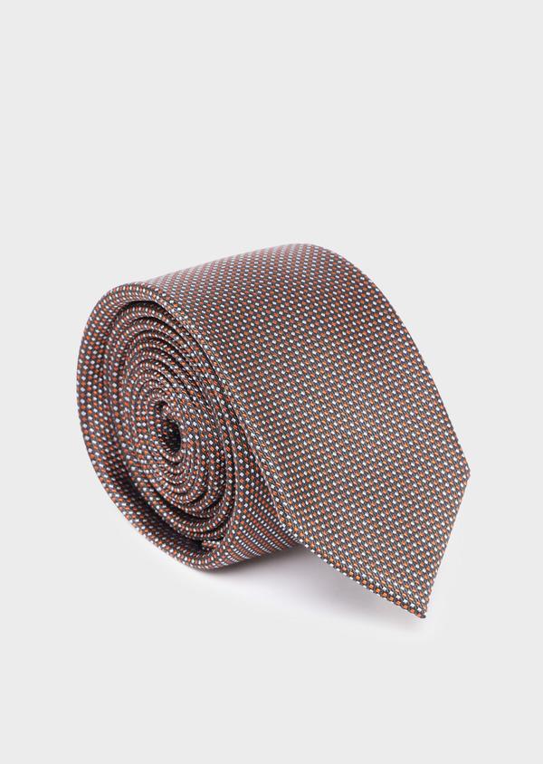 Cravate large en soie à motif fantaisie orange et gris - Father and Sons 35196