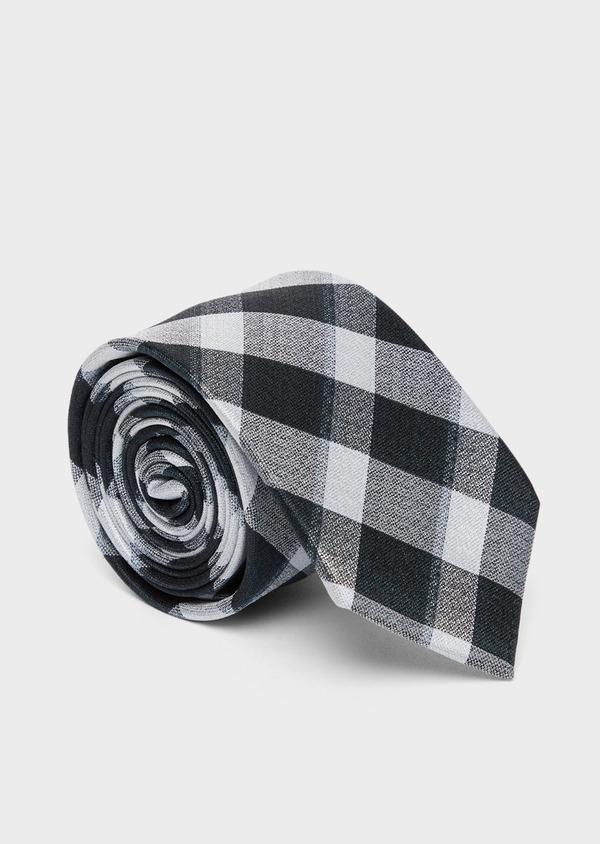 Cravate large en soie à carreaux vert et blanc - Father and Sons 37779