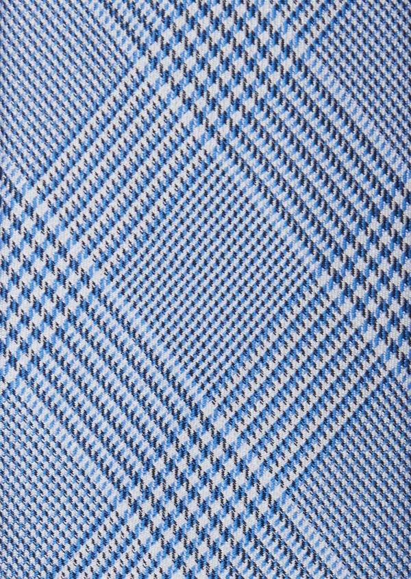 Cravate large en soie gris et bleu Prince de Galles - Father and Sons 37908