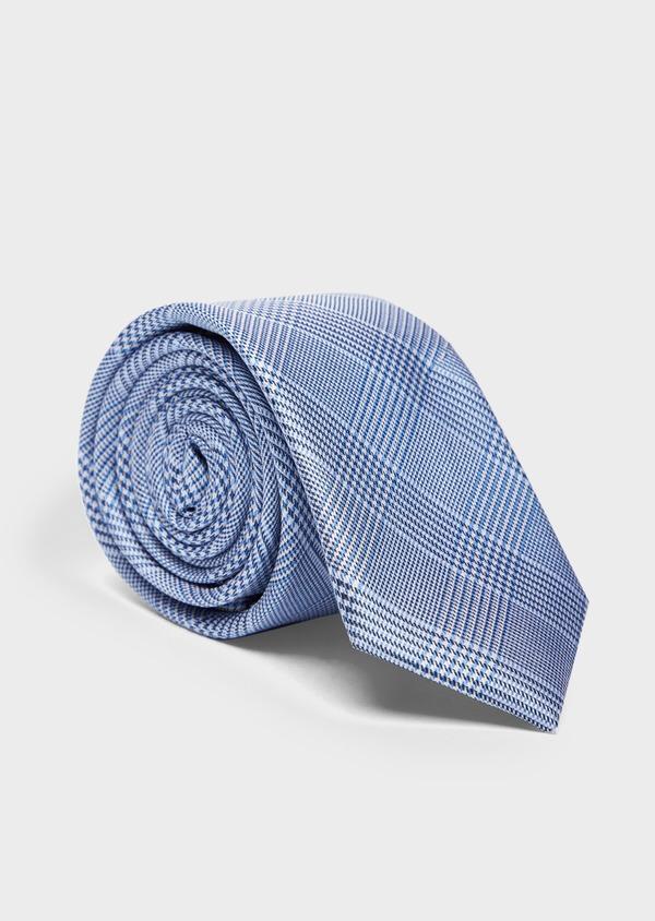 Cravate large en soie gris et bleu Prince de Galles - Father and Sons 37907
