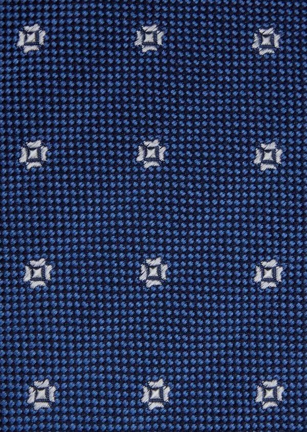 Cravate large en soie bleue à motif fleuri écru - Father and Sons 37898