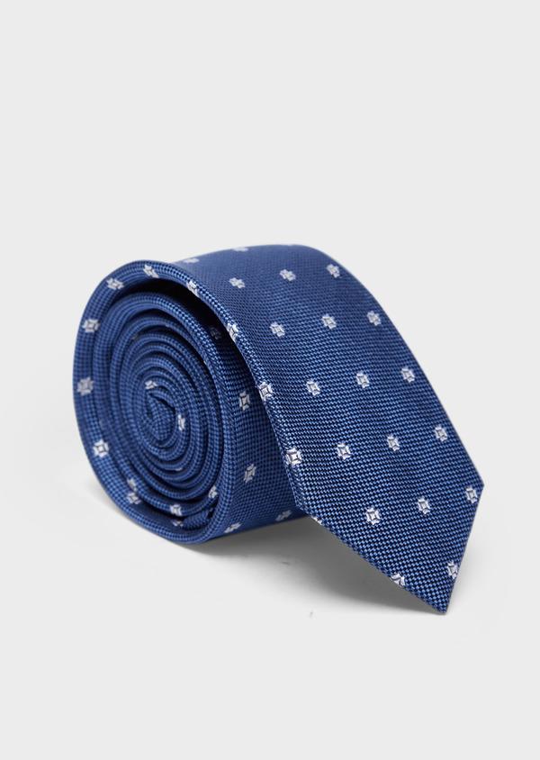 Cravate large en soie bleue à motif fleuri écru - Father and Sons 37897