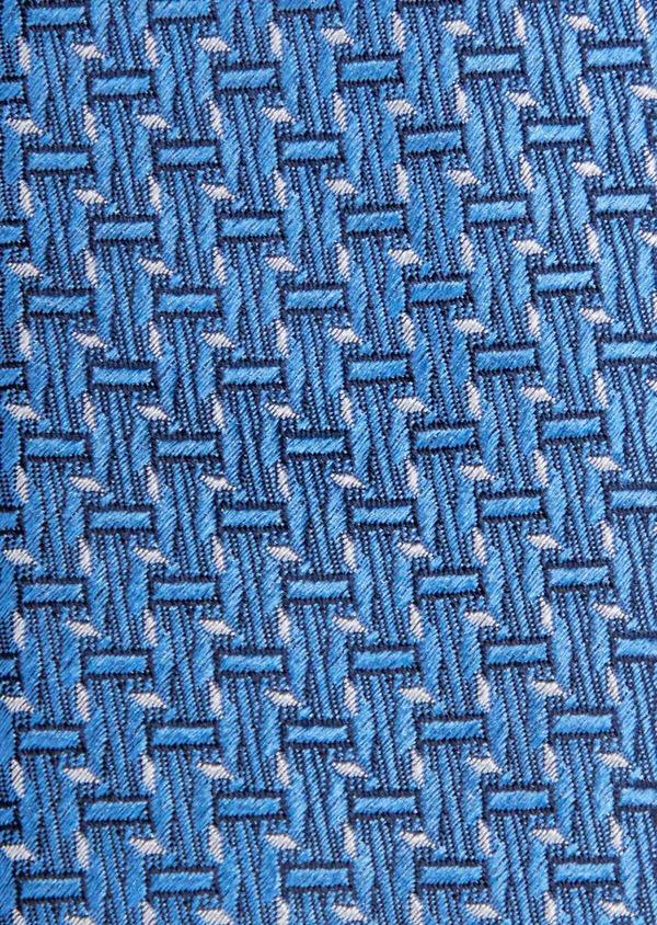 Cravate large en soie bleue à motifs géométriques bleu et beige - Father and Sons 37906