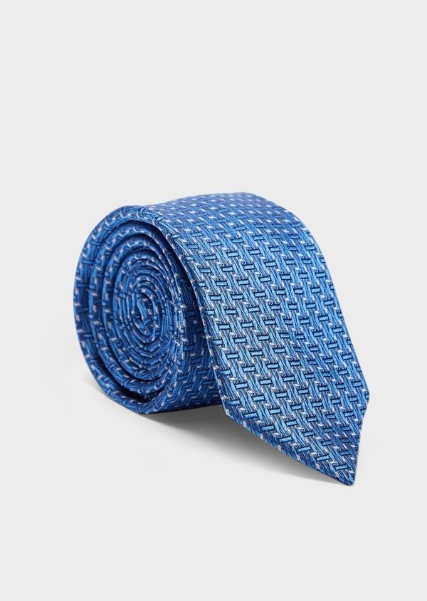 Cravate large en soie bleue à motifs géométriques bleu et beige - Father and Sons 37905
