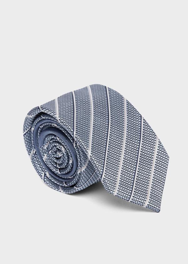 Cravate club large en soie bleu ciel et blanc - Father and Sons 37809
