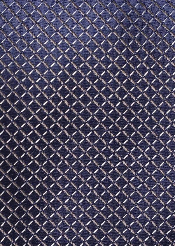 Cravate large en soie bleue à motifs losanges écrus - Father and Sons 35183