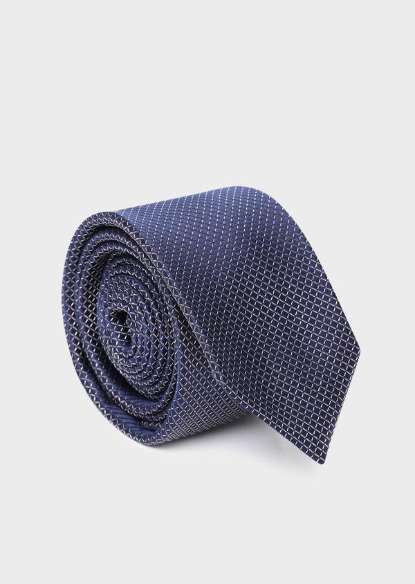 Cravate large en soie bleue à motifs losanges écrus - Father and Sons 35182
