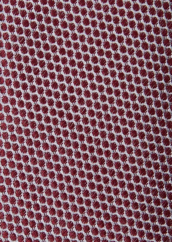 Cravate large en soie grise à pois bordeaux - Father and Sons 37900