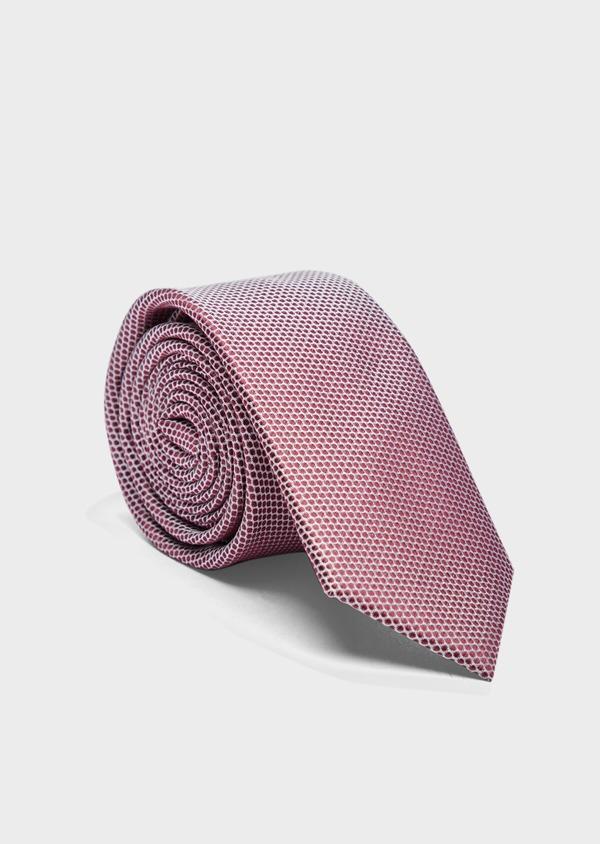 Cravate large en soie grise à pois bordeaux - Father and Sons 37899