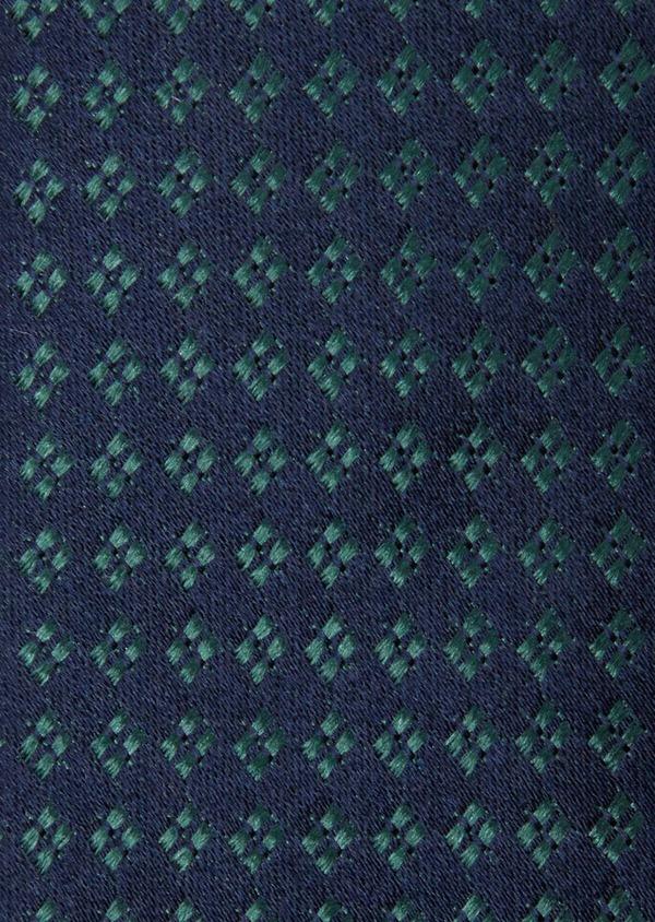 Cravate large en soie bleu marine à motifs géométriques vert - Father and Sons 37892