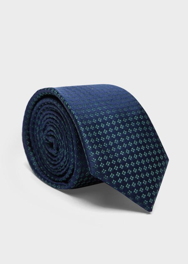 Cravate large en soie bleu marine à motifs géométriques vert - Father and Sons 37891