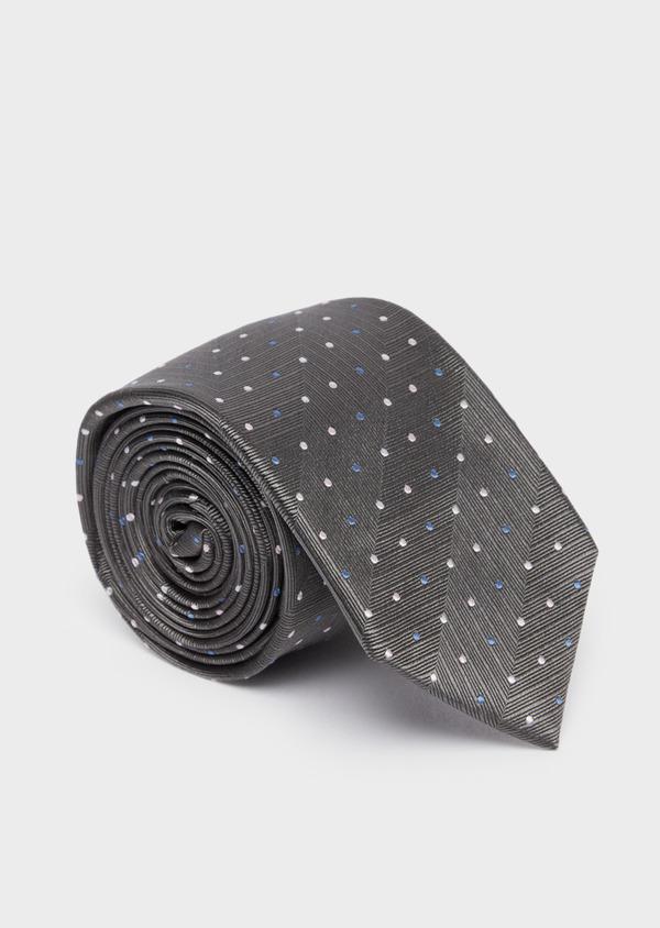 Cravate large en soie grise à pois beige et bleu - Father and Sons 37747